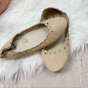 Capelli of New York Shoes - Capelli Nude Round Toe Laser Cut Out Ballet Flats